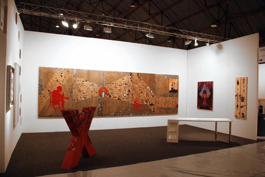 Installation View featuring work by Mark Dutcher, Eamon Ore-Giron and Deborah Grant at artLA 2009