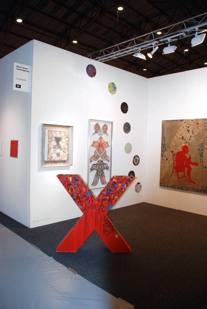 Installation View featuring work by Mark Dutcher, Eamon Ore-Giron and Deborah Grant at artLA 2009