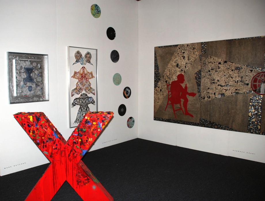 Installation View, featuring work by Mark Dutcher, Eamon Ore-Giron and Deborah Grant at artLA 2009