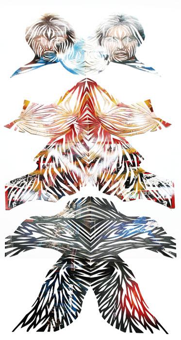 Eamon Ore-Giron Olivia, 2008, Cut album sleeves, 60 x 25 inches