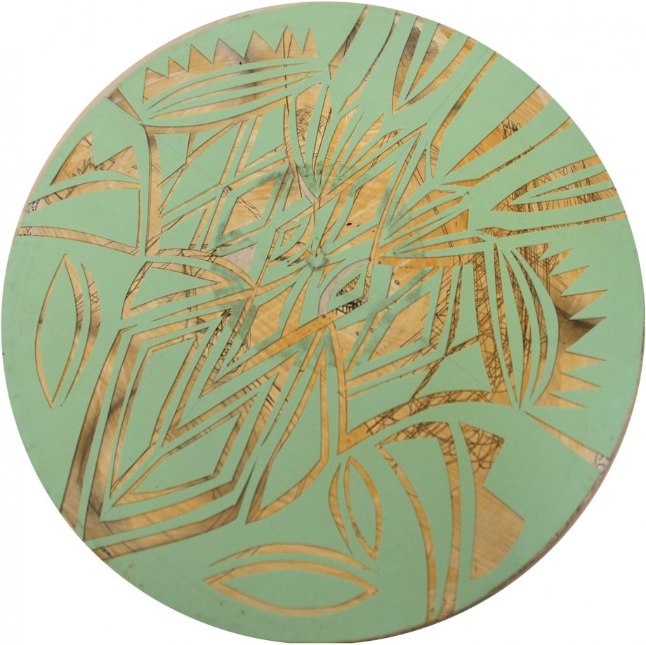 Eamon Ore-Giron, Untitled #5, 2008, Acrylic and cut vinyl on found record album, 11 3/4 x 11 3/4 inches