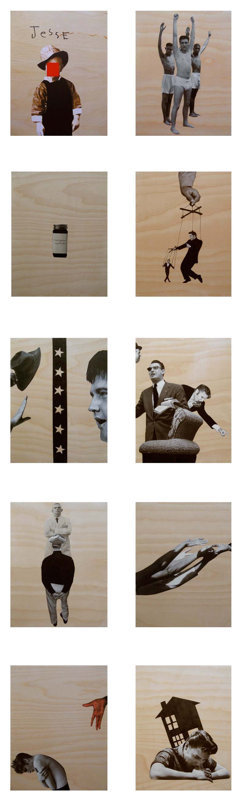 Deborah Grant Two Room Gun Shack, 2008, 10 panels: Oil and collage on birch panel, 59 x 18 inches