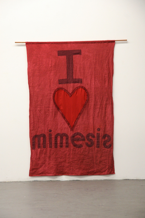 My Barbarian I Heart Mimesis, 2008, Linen, lace and satin banner on wood dowel, 86 1/2 x 56 1/2 inches