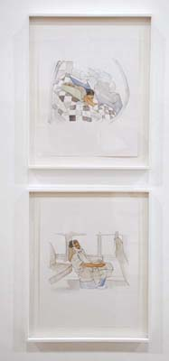 Julio Cesar Morales Undocumented Interventions #14 & #12, 2009. Watercolor and ink on paper, 14 x 11 inches each.