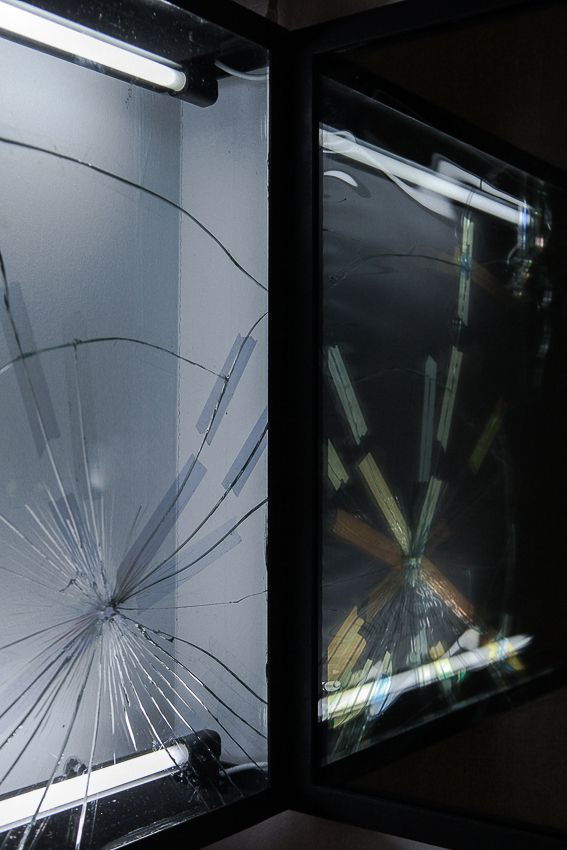 Pablo Rasgado. Afterimage (Repaired Broken Mirror #1), 2014. Welded steel, mirror, filters and fluorescent light, 19 1/2 x 19 1/2 inches (detail)