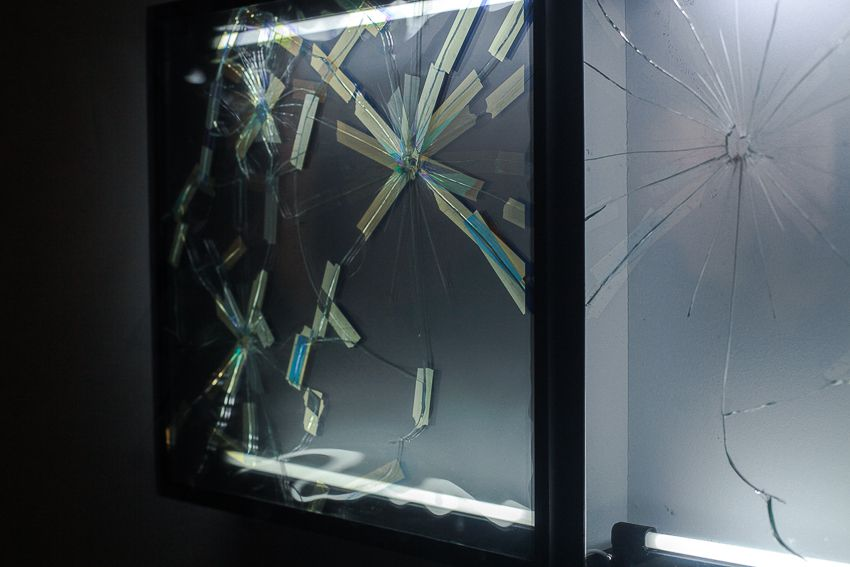 Pablo Rasgado. Afterimage (Repaired Broken Mirror #2), 2014. Welded steel, mirror, filters and fluorescent light, 19 1/2 x 19 1/2 inches (detail)