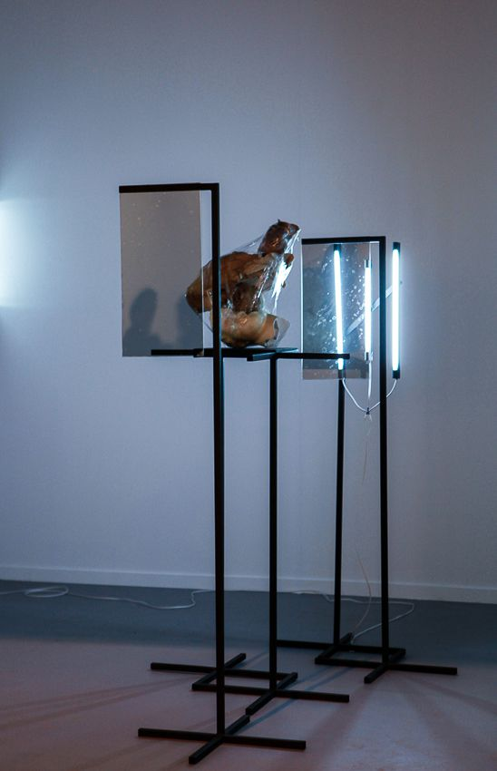Pablo Rasgado. Afterimage (Reconstruction of a Head), 2014. Welded steel, fragments of sculpted figures, adhesive tape and fluorescent light, Dimensions variable