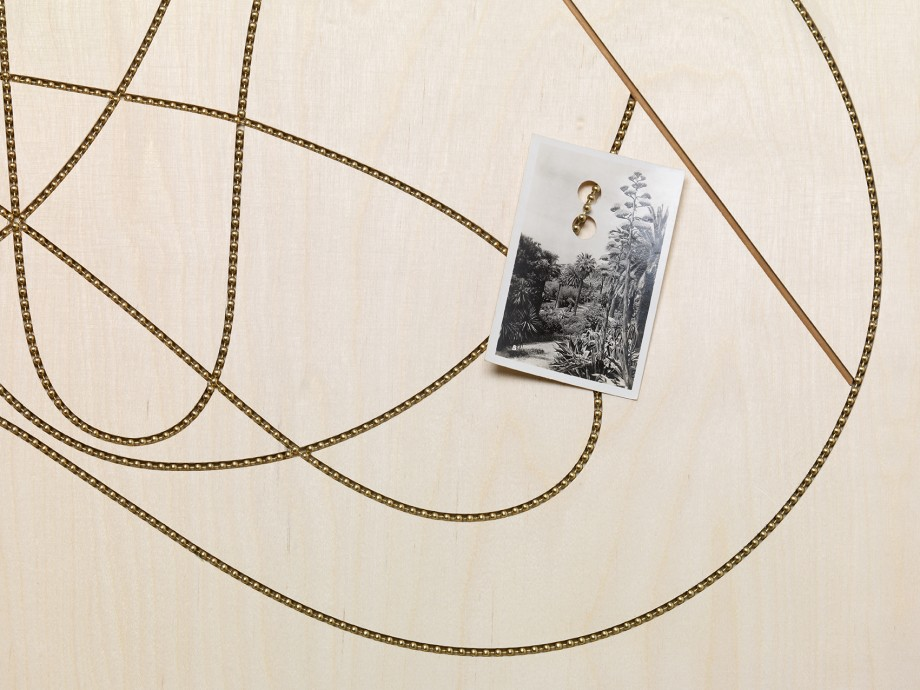 Edgar Orlaineta. Lines of the incandescent, 2014. Brass chain and vintage photograph on walnut and birch panel, 23 1/4 x 31 inches (detail)