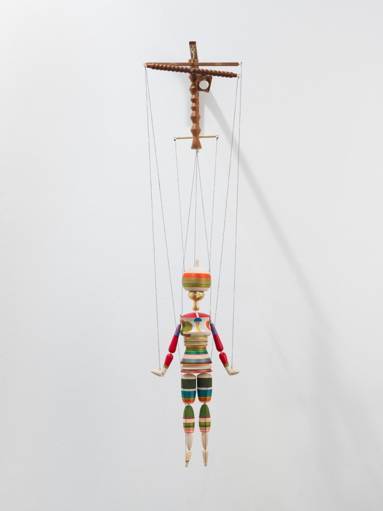 Edgar Orlaineta. Sophie - A possibility of living, 2014. Acrylic, oil and silk on cottonwood, walnut and brass, 49 1/4 x 11 3/4 x 7 1/2 inches
