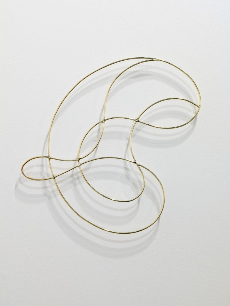 Edgar Orlaineta. Invisible knot, 2014. Brass plated steel and aloe in ceramic pot, 20 1/2 x 20 7/8 x 3/16 inches