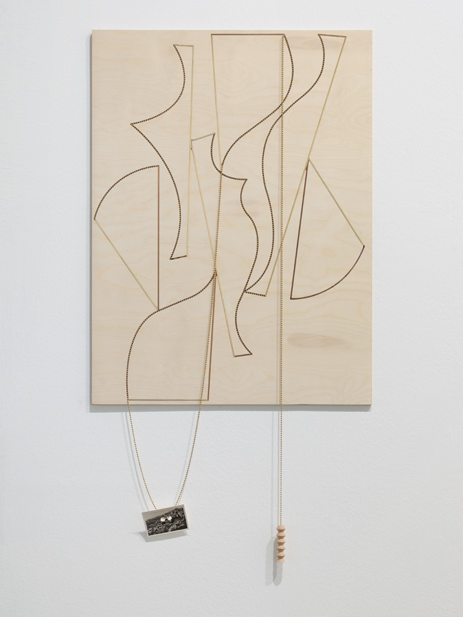 Edgar Orlaineta. You dreamed of things that rest in the immutable home of light, 2014. Brass chain and vintage photograph on walnut and birch panel, 46 13/16 x 23 3/16 inches