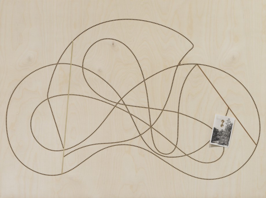 Edgar Orlaineta. Lines of the incandescent, 2014. Brass chain and vintage photograph on walnut and birch panel, 23 1/4 x 31