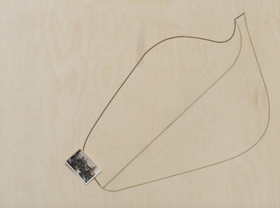 Edgar Orlaineta. Quiet leaf, 2014. Brass chain and vintage photograph on walnut and birch panel, 23 1/4 x 31 inches