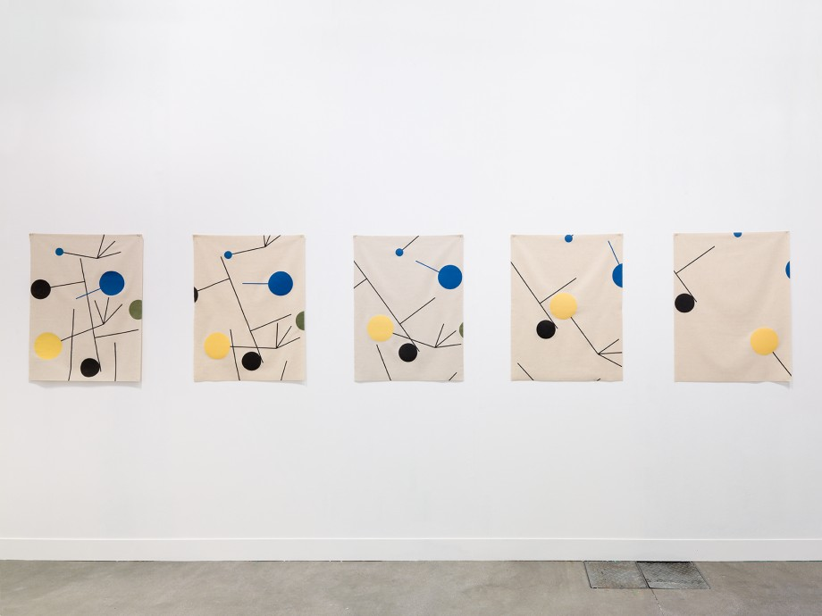 Edgar Orlaineta. Rising, Falling, Clinging, Flying, Vanishing (After Sophie Taeuber-Arp), 2014. Six screen prints on wool, 37 x 28 1/3 inches each; 37 x 170 inches overall