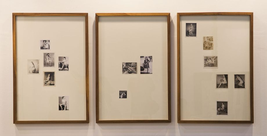 Edgar OrlainetaPin-Up-topia 10, 11 & 12, 2013 15 vintage photos and walnut frames 36 3/4 x 24 3/4 each 36 3/4 x 74 1/4 inches