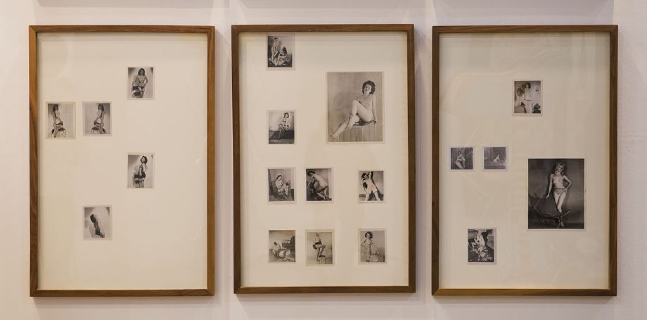 Edgar Orlaineta. Pin-Up-topia 1, 2 & 3, 2013 16 vintage photos and walnut frames 36 3/4 x 24 3/4 each 36 3/4 x 74 1/4 inches