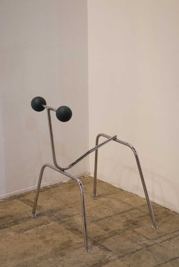 Edgar Orlaineta. Ray, 2013 Chromed paint, steel, paint, turned pine and walnut 26 1/2 x 21 1/4 x 20 1/2 inches