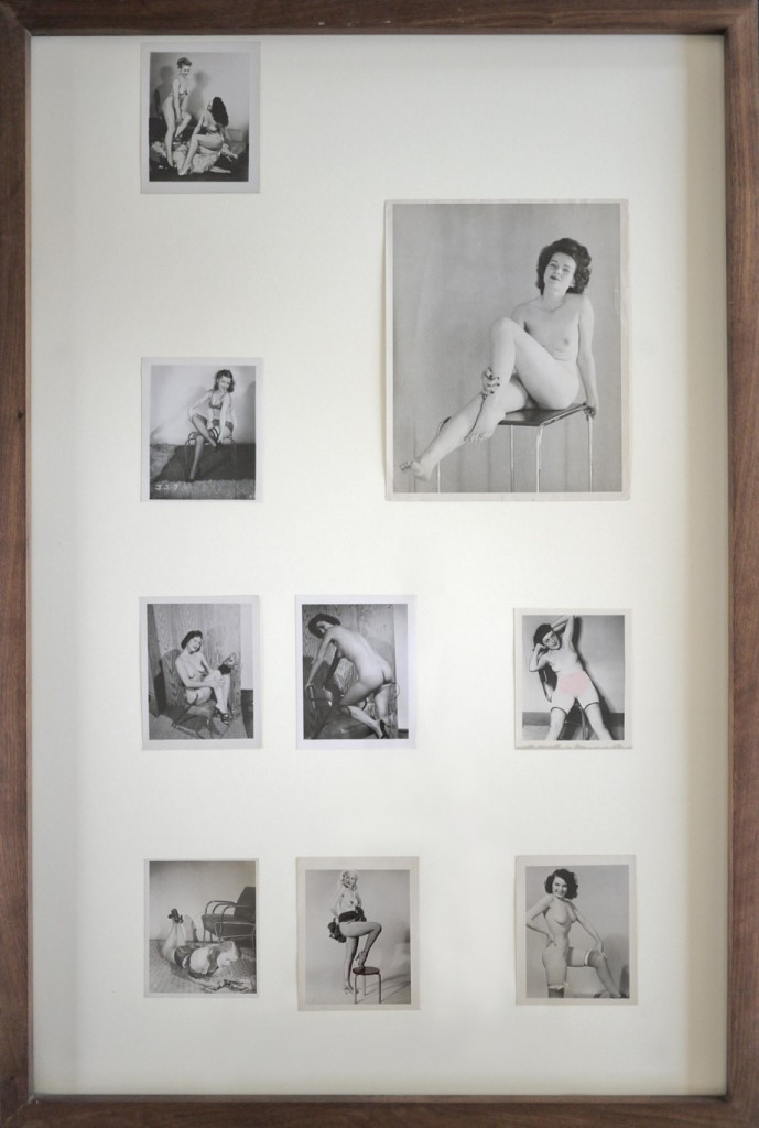 Edgar Orlaineta. Pin-Up-topia 3, 2013. 9 Vintage photos and walnut frame, 36 3/4 x 24 3/4 inches