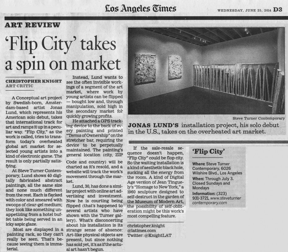 Jonas Lund, Los Angeles Times, Christopher Knight, Flip City