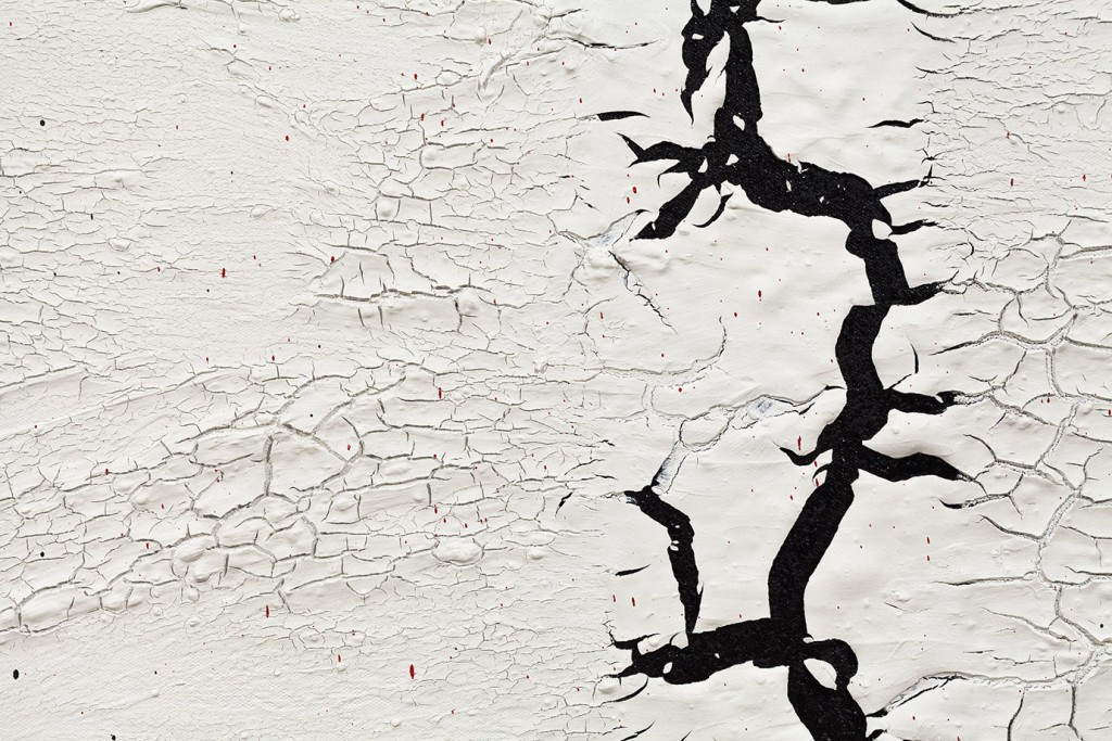 stucco, urban, Buenos Aires, ivan comas, steve turner, latin american, south american, south america, abstract, abstract painting, crackle, cracks, white, black, black and white, minimal, contemporary, steve turner los angeles, steve turner la, steve turner contemporary