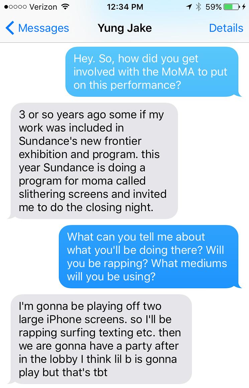 Yung Jake, Village Voice, MoMa, Sundance, performance, emoji, post-internet, internet, emoji portrait