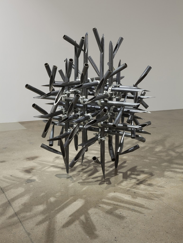 luciana lamothe, sculpture, women sculptor, installation, free function, form over function, tension, plywood, iron pipes, couplers,