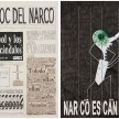 <em>El Bloc Del Narco #1</em>, 2016. Ink, water-soluble wax pastel, tape, glue, newspaper clippings, staples, plastic bag, paper dust and saliva on paper, 16 1/2 x 24 inches thumbnail