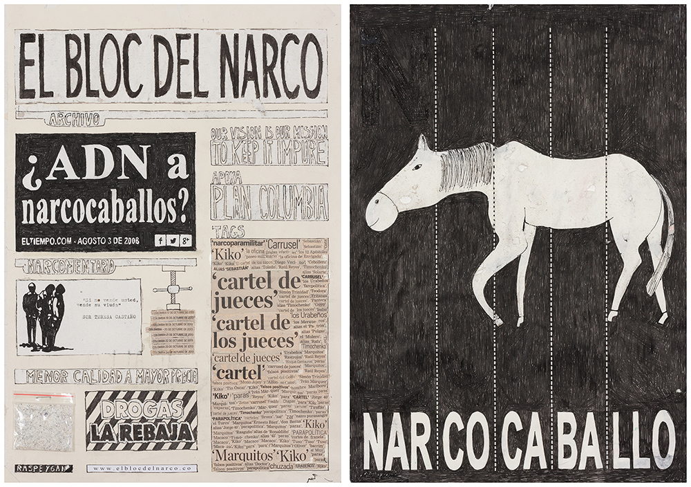 El espectador, calendar, narco, narco art, Camilo Restrepo, Steve Turner, Los Angeles, Medellín, Colombia, Colombian artist, Tight Rope, pastel on paper, contemporary colombian artist, contemporary art Colombia, contemporary art gallery los angeles, headlines, newspaper