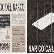 <em>El Bloc Del Narco #3</em>, 2016. Ink, water-soluble wax pastel, tape, glue, newspaper clippings, staples, plastic bag, paper dust and saliva on paper, 16 1/2 x 24 inches thumbnail