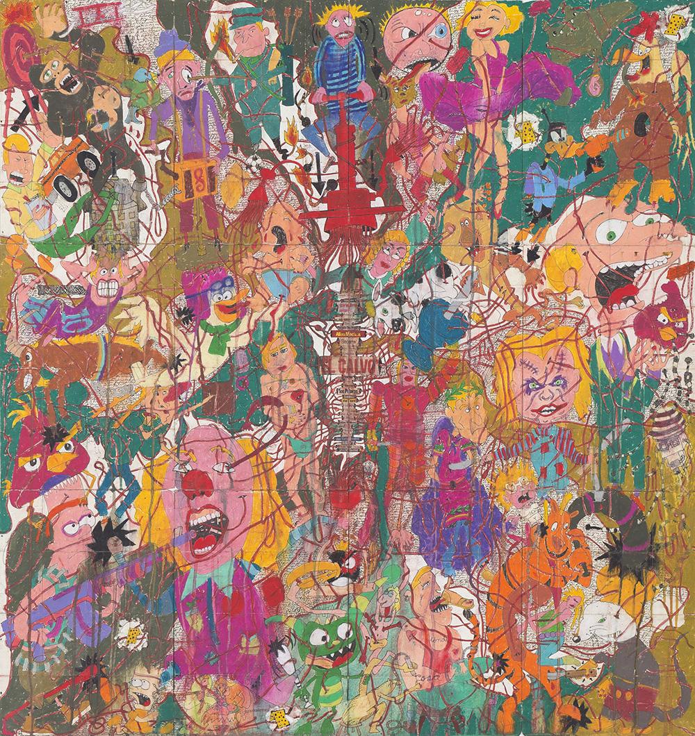 El espectador, calendar, narco, narco art, Camilo Restrepo, Steve Turner, Los Angeles, Medellín, Colombia, Colombian artist, Tight Rope, pastel on paper, contemporary colombian artist, contemporary art Colombia, contemporary art gallery los angeles