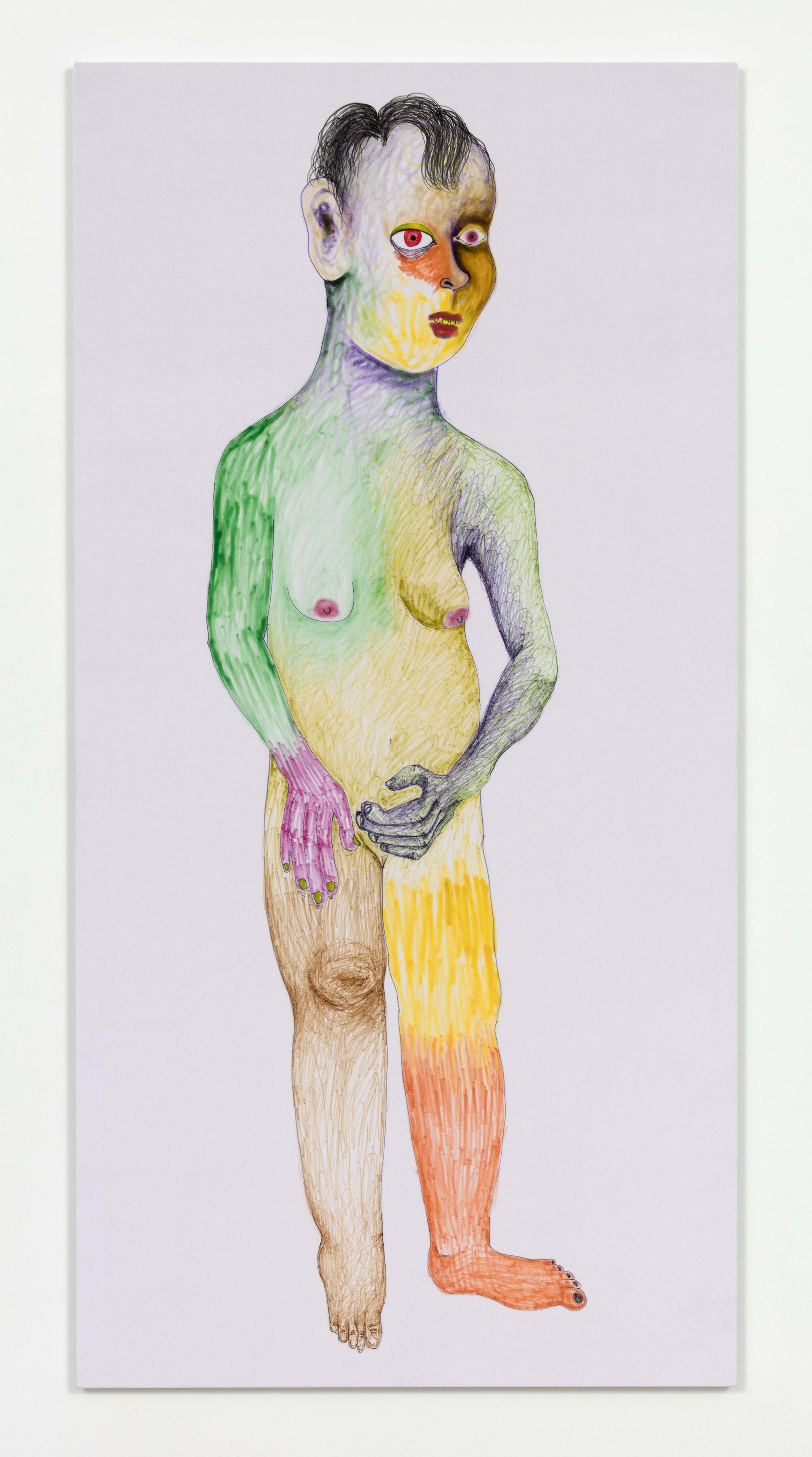 <em>Lev</em>, 2017. Fabric marker on velvet, 100 x 50 1/4 inches