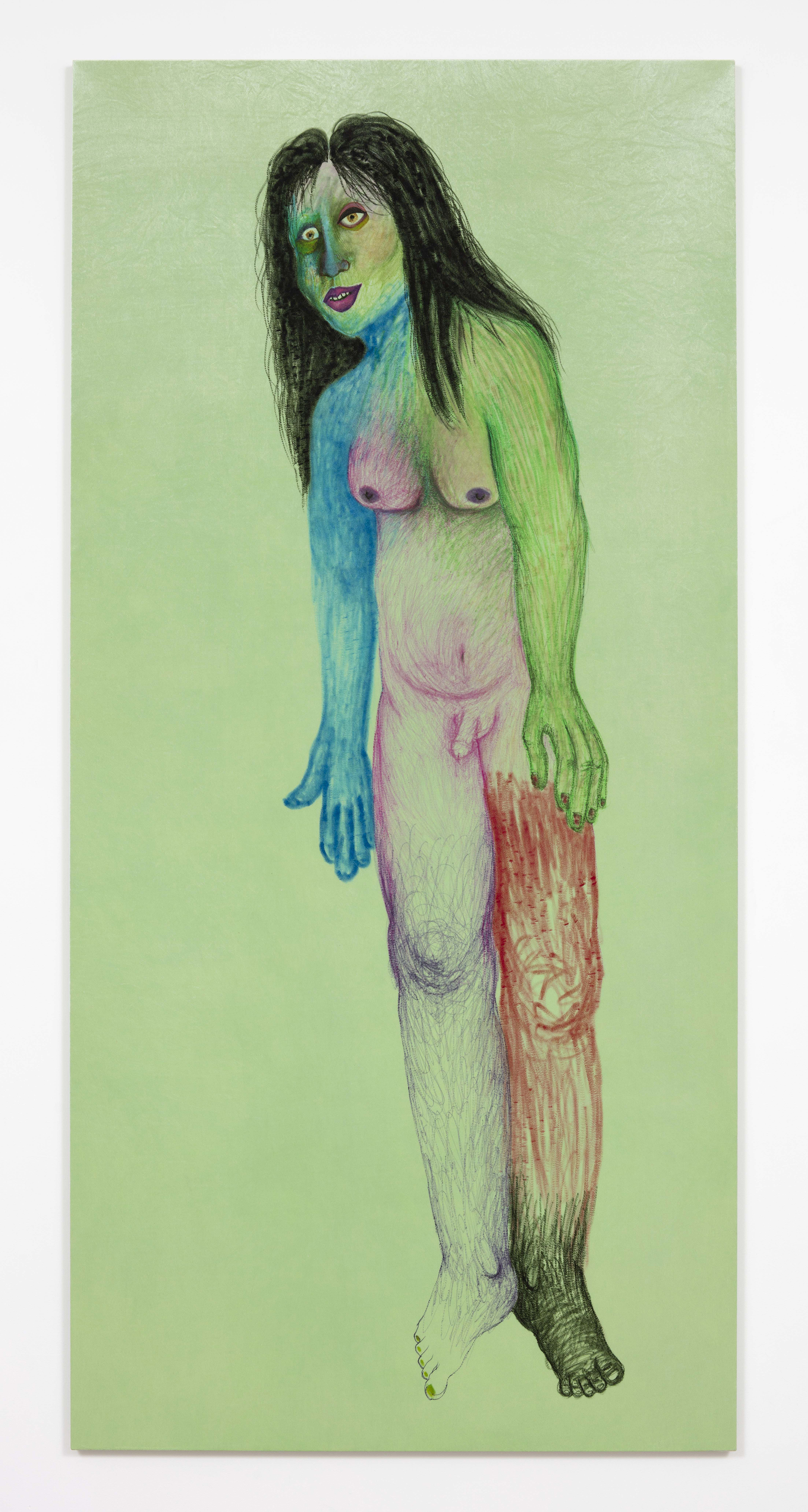 <em>Sarai</em>, 2017. Fabric marker on panne velvet, 109 x 52 1/4 inches