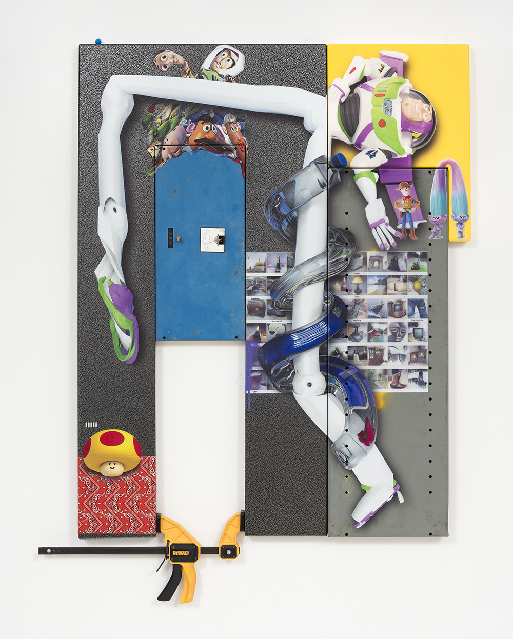 <em>A B C</em>, 2017. UV print, spray paint, duct tape, vice, and Model Magic® on powder coated steel and found metal, 49 x 39 x 3 inches