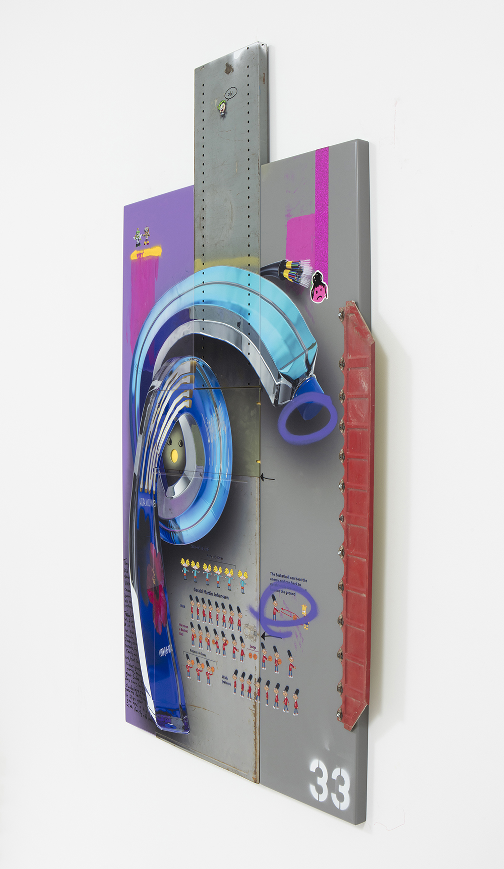 <em>ok!</em>, 2017. UV print, spray paint, stickers, ink, oil on powder coated steel and found metal, 64 x 43 x 3 inches