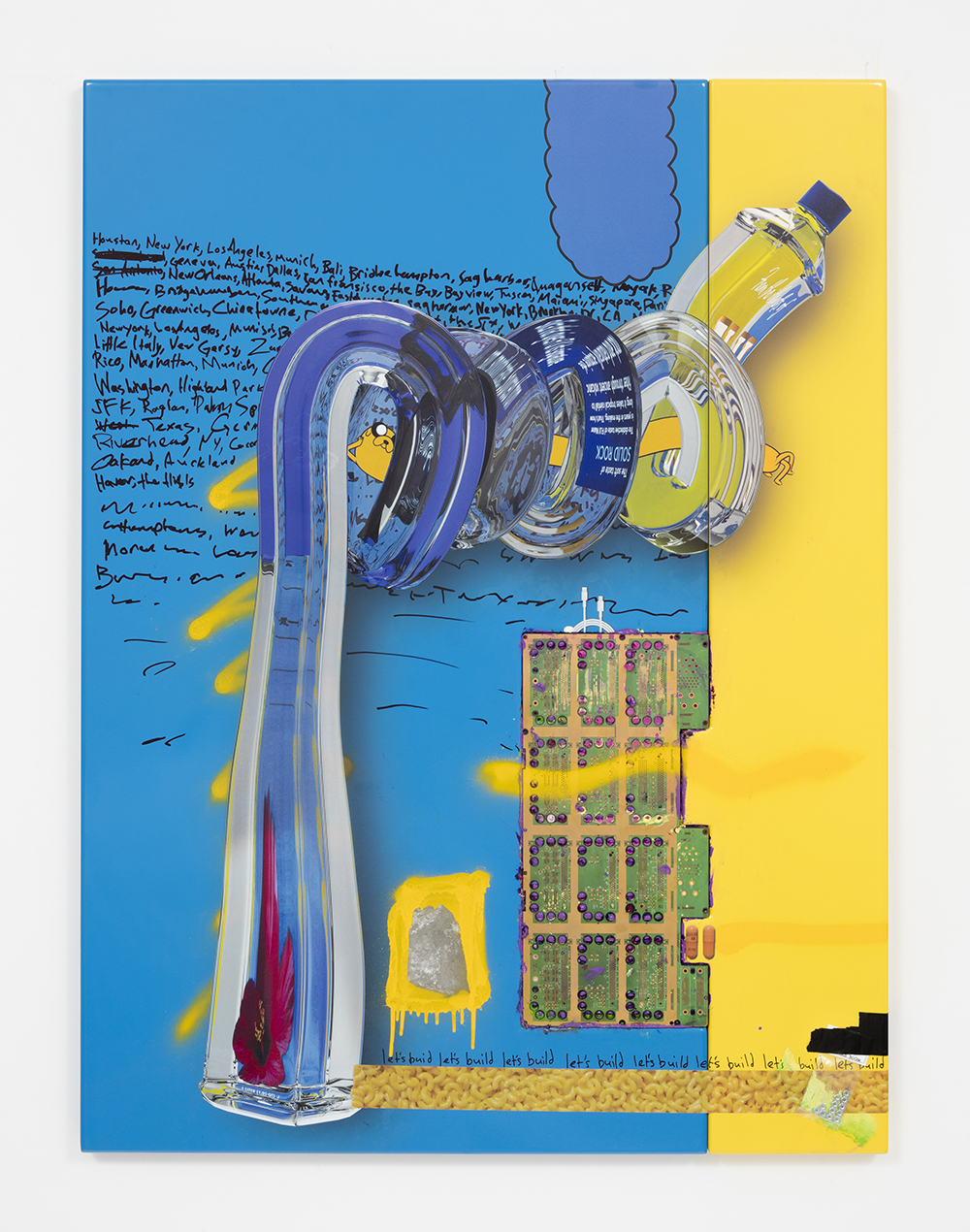 <em>let's build</em>, 2017. UV print, spray paint, duct tape, ink, circuit board, bag of nuts and oil on powder coated steel, 49 x 39 x 3 inches