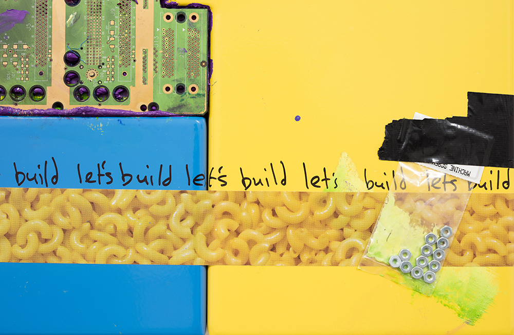 <em>let's build</em>, 2017. UV print, spray paint, duct tape, ink, circuit board, bag of nuts and oil on powder coated steel, 49 x 39 x 3 inches. Detail