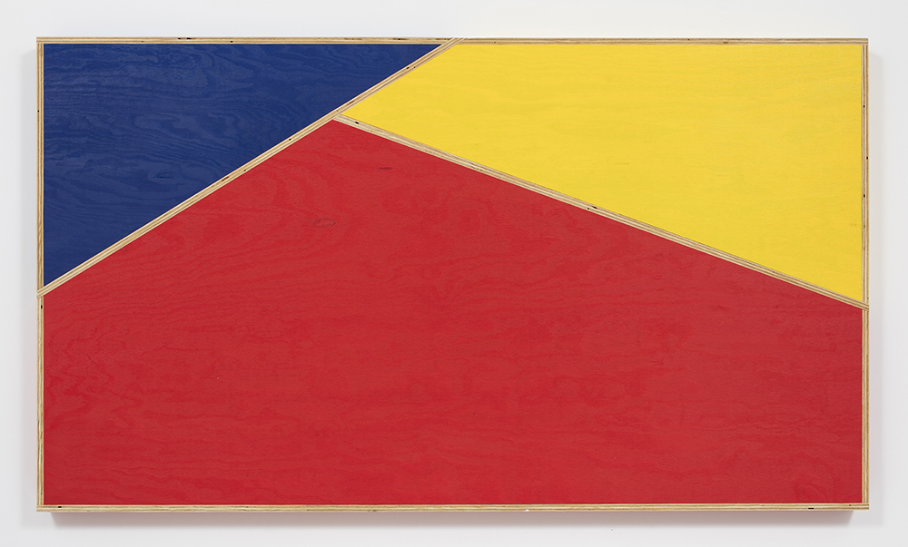 G.T. Pellizzi. <em>Transitional Geometry in Red, Yellow and Blue (Figure 32)</em>, 2016. Eggshell acrylic on plywood, 48 x 84 inches