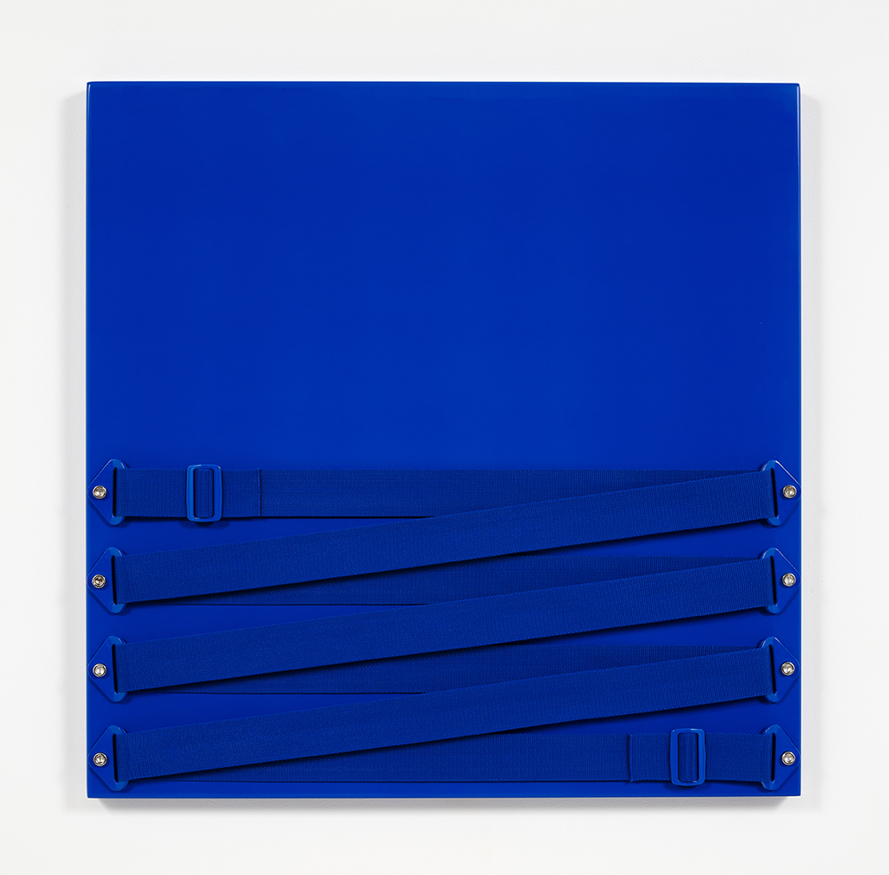 Joshua Saunders. <em>20/20</em>, 2016. Enamel on aluminum, nylon straps, stainless steel, 30 x 30 inches