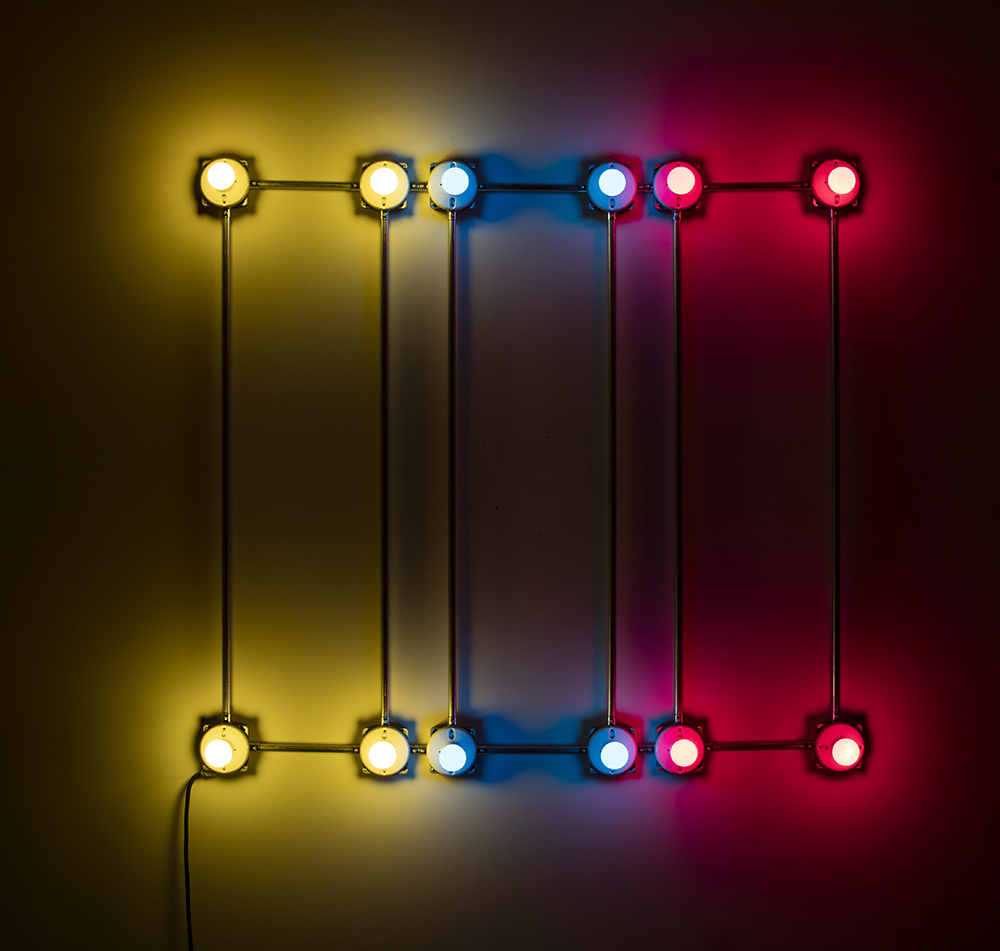 G.T. Pellizzi. <em>Conduits in Red, Yellow and Blue (Figure 66)</em>, 2016. Galvanized steel, copper wire, porcelain fixtures and ceramic coated light bulbs, 54 x 54 inches