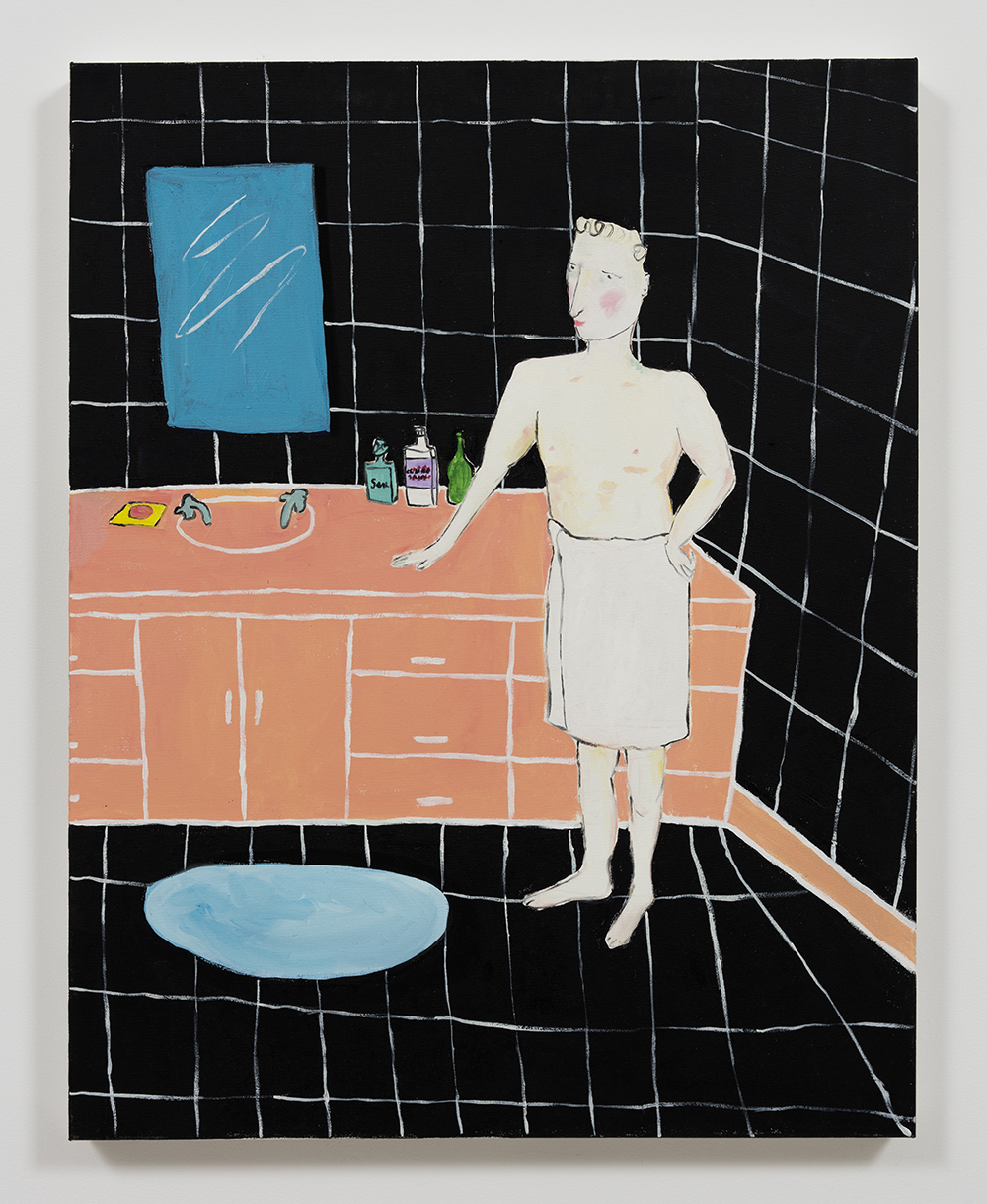 Claire Milbrath. <em>Gray's Bathroom</em>, 2016. Oil on canvas, 28 x 22 inches