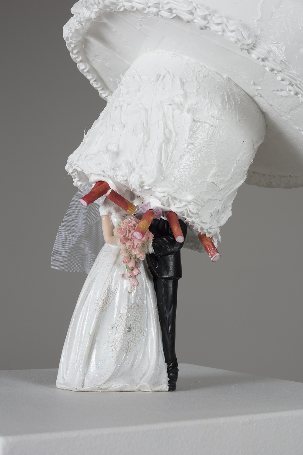 Addie Wagenknecht. <em>Waiting for Mr. Right</em>, 2017. Polystyrene, silicone, alabaster, drip candles and artificial flowers, 47 x 12 1/2 x 11 inches. Detail