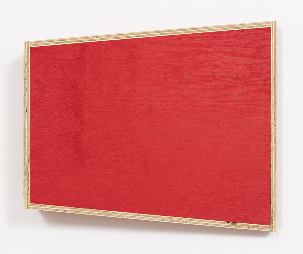 G.T. Pellizzi. <em>Transitional Geometry in Red</em>, 2017. Eggshell acrylic on plywood, 25 3/4 x 30 1/4 x 5 inches