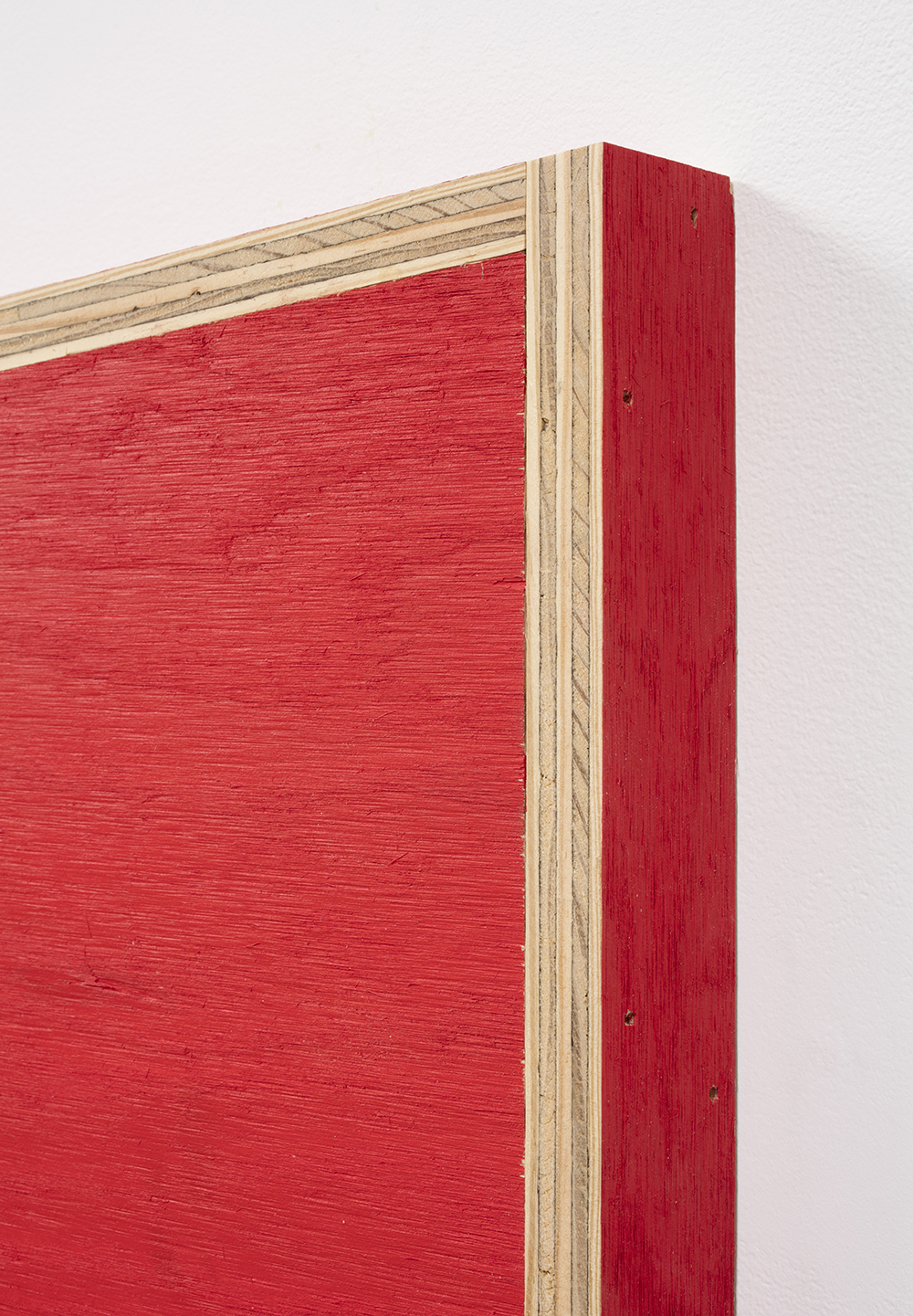 G.T. Pellizzi. <em>Transitional Geometry in Red</em>, 2017. Eggshell acrylic on plywood, 25 3/4 x 30 1/4 x 5 inches. Detail