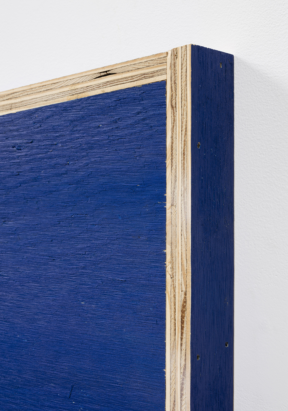 G.T. Pellizzi. <em>Transitional Geometry in Blue</em>, 2017. Eggshell acrylic on plywood, 25 3/4 x 30 1/4 x 5 inches. Detail