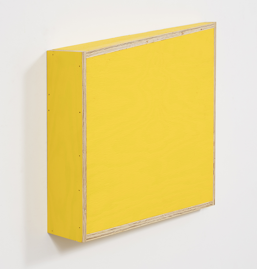 G.T. Pellizzi. <em>Transitional Geometry in Yellow</em>, 2017. Eggshell acrylic on plywood, 25 3/4 x 30 1/4 x 5 inches