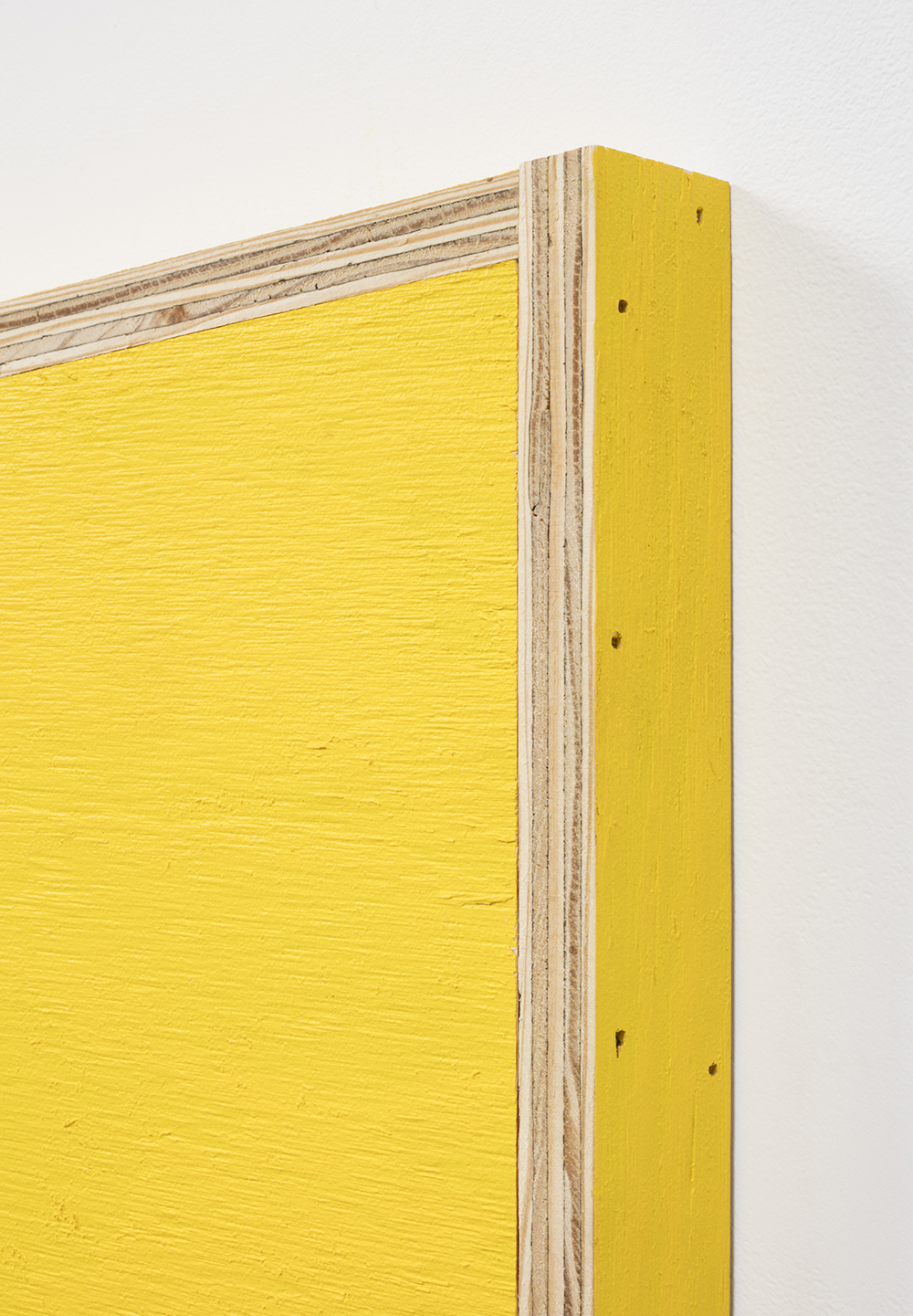 G.T. Pellizzi. <em>Transitional Geometry in Yellow</em>, 2017. Eggshell acrylic on plywood, 25 3/4 x 30 1/4 x 5 inches. Detail