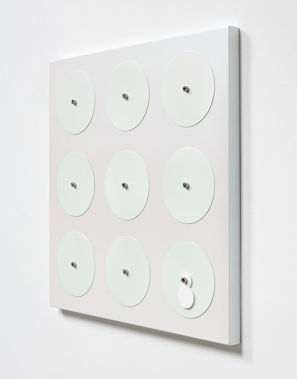 Joshua Saunders. <em>Magenta/Turquoise</em>, 2017. Enamel on aluminum, stainless steel, 30 x 30 x 1 1/2 inches