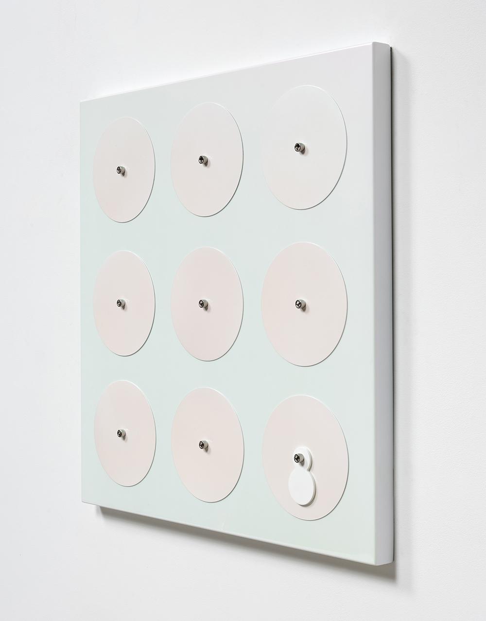 Joshua Saunders. <em>Turquoise/Magenta</em>, 2017. Enamel on aluminum, stainless steel, 30 x 30 x 1 1/2 inches