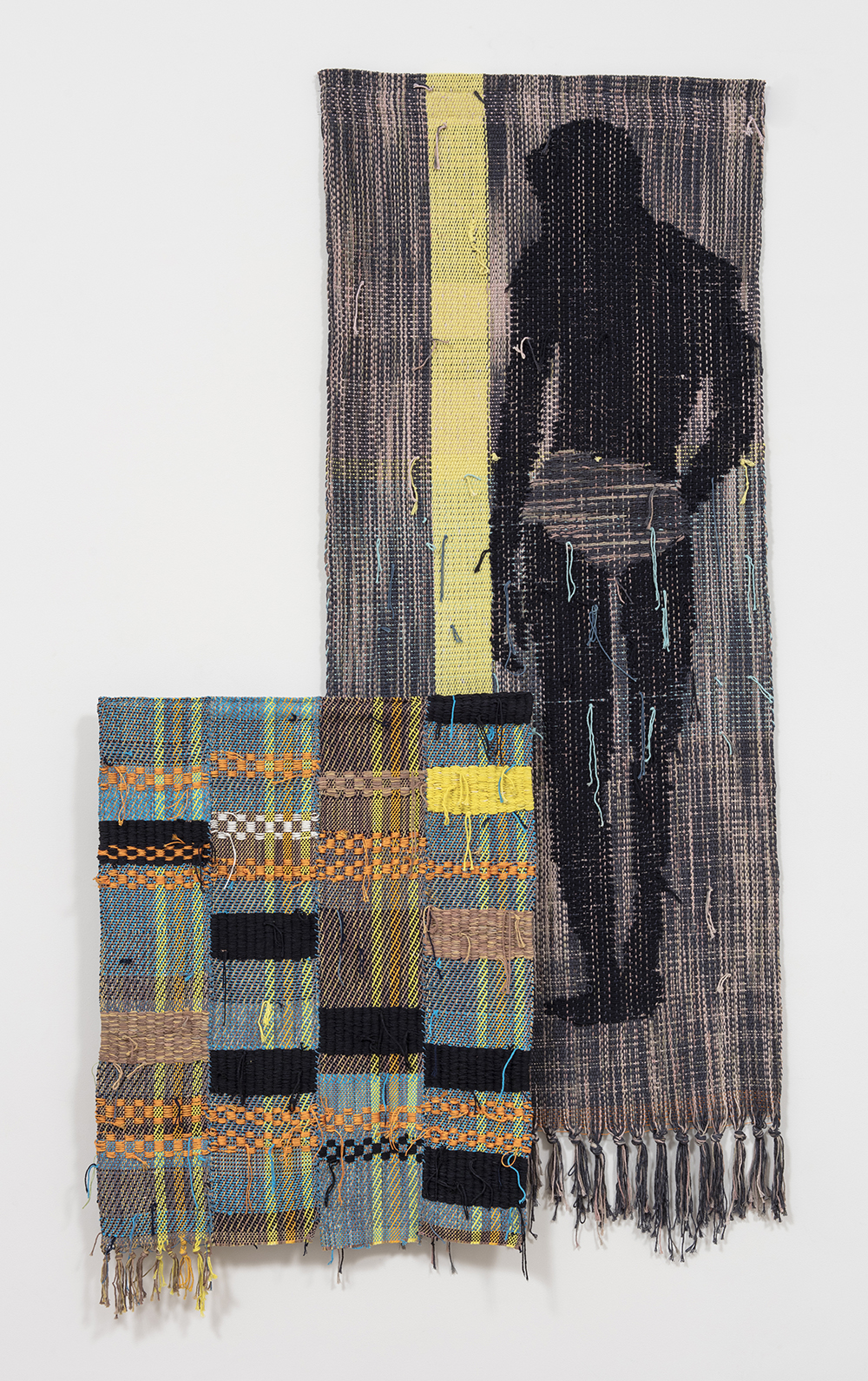 Diedrick Brackens. <em>Blue Under Night</em>, 2017. Woven cotton yarn, 78 x 31 inches & <em>Wading Still</em>, 2017. Woven cotton and nylon yarn, 40 x 29 1/2 inches