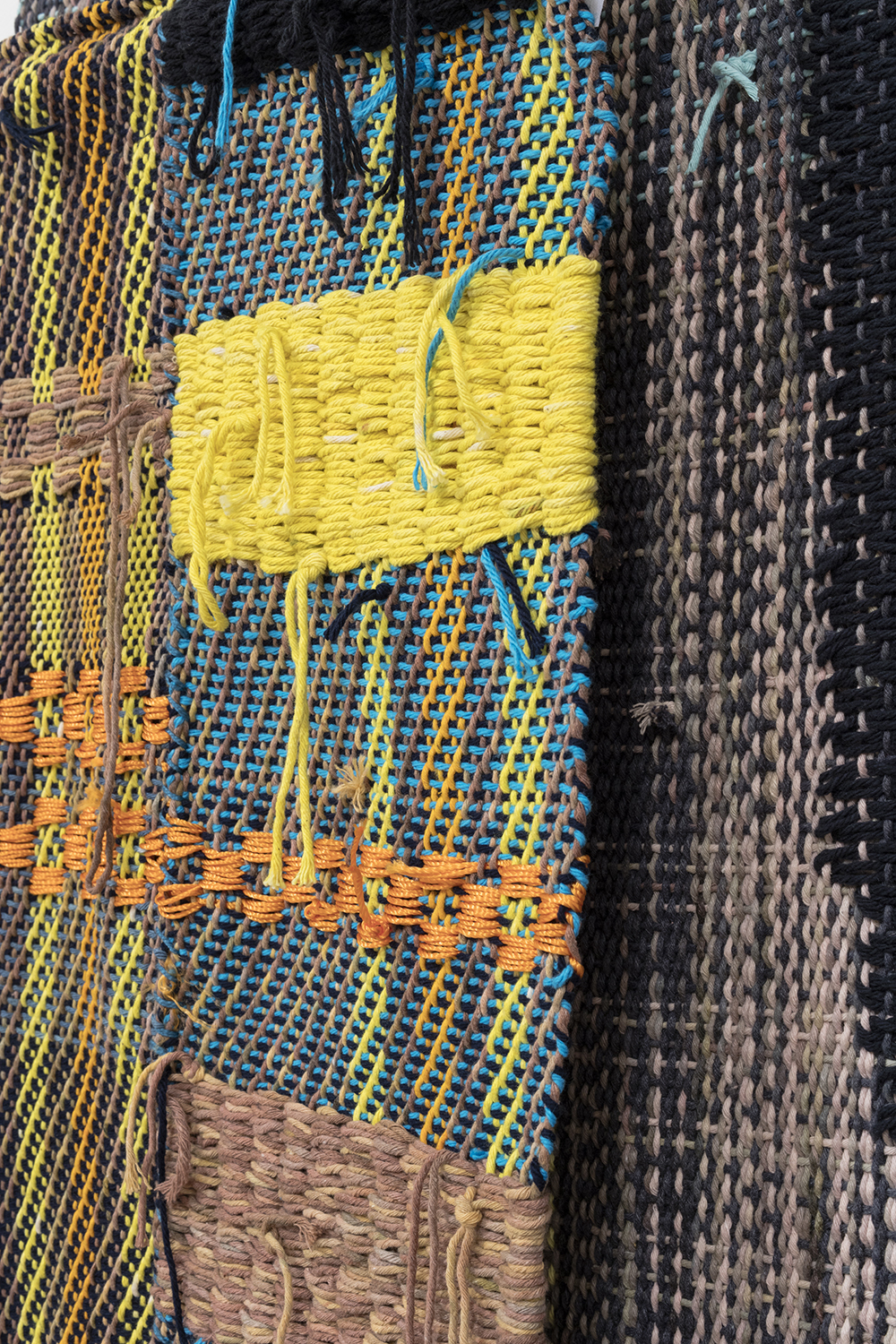 Diedrick Brackens. <em>Blue Under Night</em>, 2017. Woven cotton yarn, 78 x 31 inches & <em>Wading Still</em>, 2017. Woven cotton and nylon yarn, 40 x 29 1/2 inches. Detail
